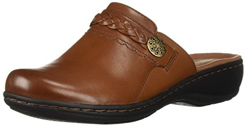 CLARKS Women's Leisa Carly Clog, Dark Tan Leather, 075 N US