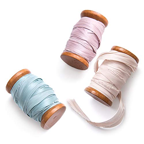 Ling's moment Handmade Sari Silk Ribbon with Spool Set of 3 Rolls Champagne/Eggshell Blue/Light Mauve Frayed Edges Ribbon for Wedding Bouquets Invitations Gift Wrapping Decor ()
