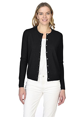 State Cashmere Women's 100% Pure Cashmere Button Front Long Sleeve Crew Neck Cardigan Sweater ()