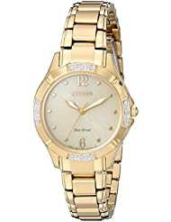 Citizen Womens Eco-Drive Diamond Quartz and Stainless-Steel Dress Watch, Color:Gold-Toned (Model: EM0452-58P)