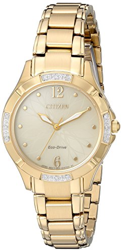 Citizen Women's 'Eco-Drive Diamond' Quartz and Stainless-Steel Dress Watch, Color:Gold-Toned (Model: - Diamond Accent Ladies Watch