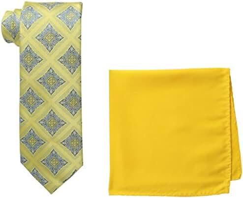 Steve Harvey Men's Tall Extra Long Medallion Necktie and Solid Pocket Square