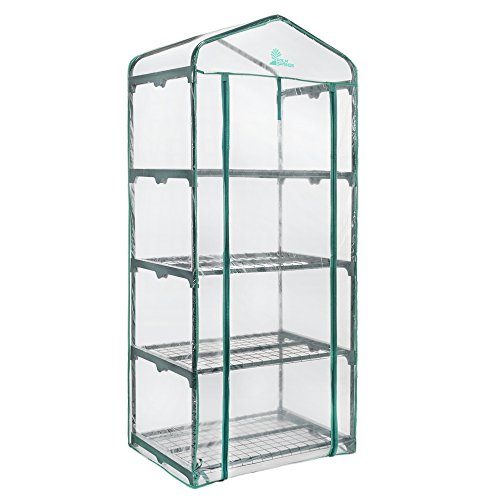 Palm Springs 4 -Tier Mini Greenhouse with Cover and Roll-up Zipper Door ()