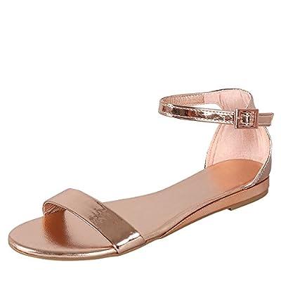 Bamboo Womens Open Toe Low Wedge Metallic Buckle Ankle Strap Flat Heel Sandals