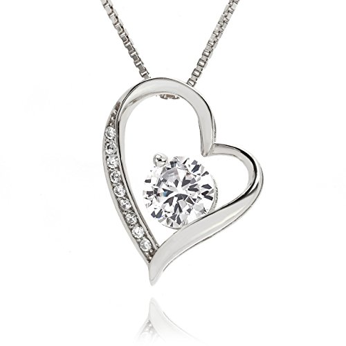 lapisia Swarovski Zirconia Open Heart Pendant Necklace for Women Stering Silver with Present Gift Box Hot-selling in Japan (Platinum) (Hearts Pendant Two Tiffany)