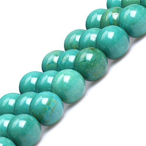 Old Turquoise Beads for Jewelry Making Gemstone Semi Precious 14mm Round Green 15