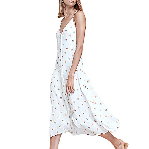 Women's Skirt, Ladies Summer Fashion Plus Size Print Dot V-Neck Ruffles Dresses Sleeveless Camis Loose Dress White ()