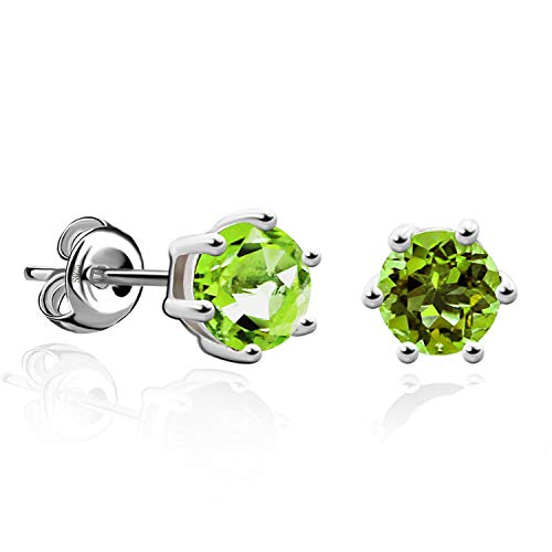 Round Gemstone Natural Amethyst Citrine Garnet Peridot Blue Topaz Stud Earrings 925 Sterling Silver Fine Jewelry