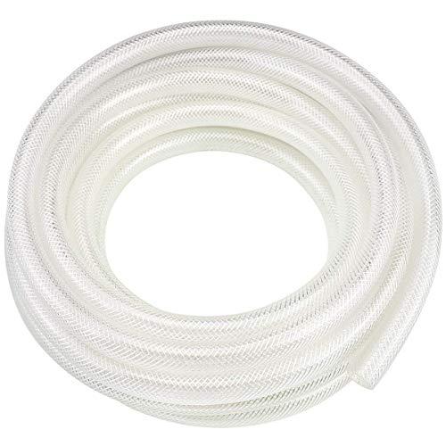 5/8″ ID x 25 Ft High Pressure Braided Clear PVC Vinyl Tubing Flexible Vinyl Tube, Heavy Duty Reinforced Vinyl Hose Tubing, BPA Free and Non Toxic