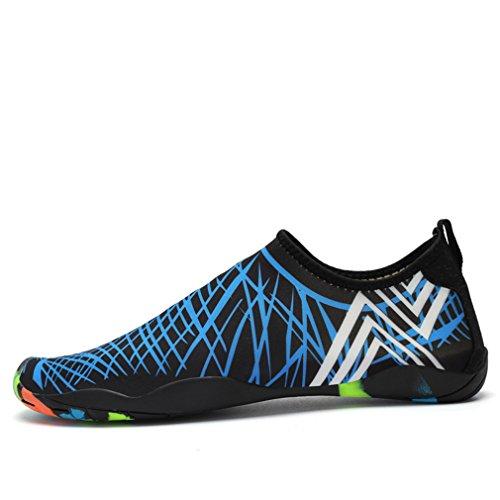 Kisfly Eau Chaussures À Séchage Rapide Léger Pieds Nus Aqua Sneakers Pour Hommes Femmes Surf Nager À Pied Yoga Bleu