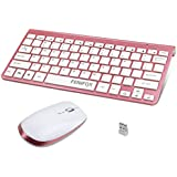 FENIFOX Wireless Keyboard Mouse Combo,2.4G Slim Small Size Ergonomic Quiet,Compatible with iMac Computer Laptop Tablet Windows(Rose Gold)