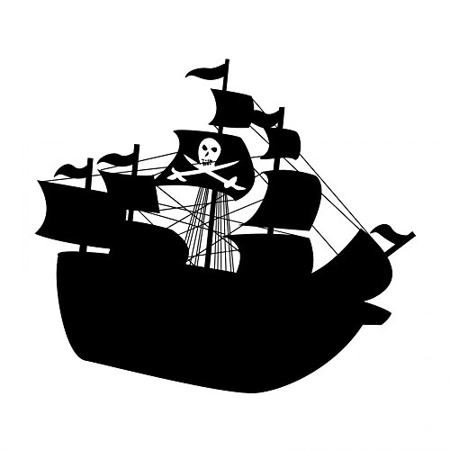 Laminated Poster Pirate Ship Silhouette Illustrations Print