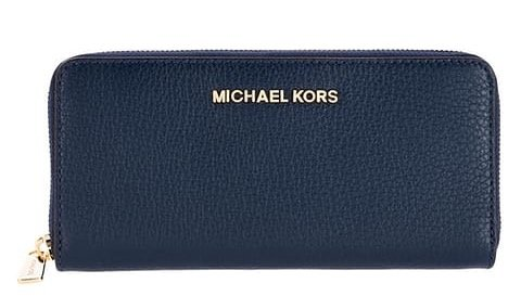 Michael Kors Bedford Large Three Quarter Zip Around Pebbled Leather Wallet (Navy) by Michael Kors
