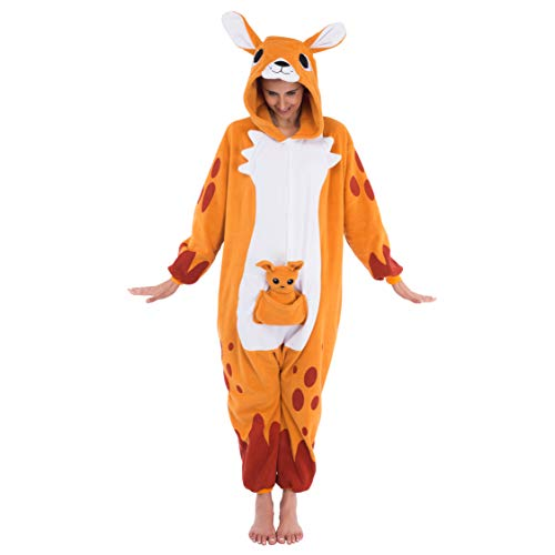 Spooktacular Creations Unisex Adult Pajama Plush Onesie One Piece Kangaroo Animal Costume (Large) -