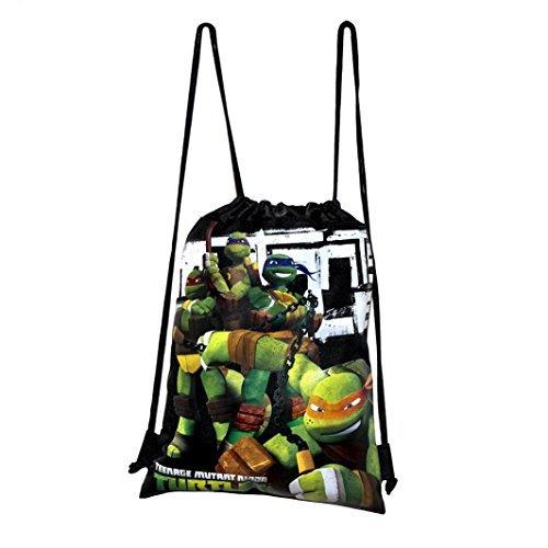 Disney Teenage Mutant Ninja Turtle Drawstring String Backpack School Sport Gym Tote Bag - Black