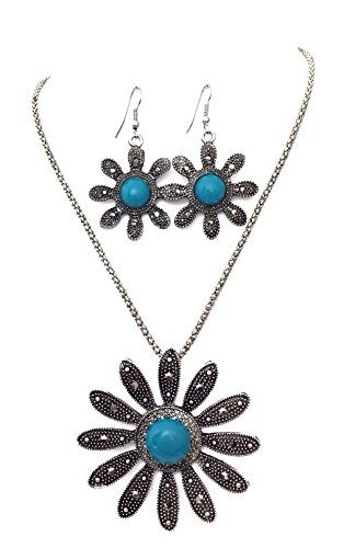 - Gypsy Jewels Statement Silver Tone Necklace & Dangle Earrings Set (Blue Dot Daisy Hematite Look)