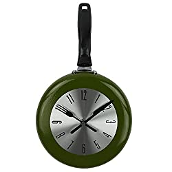 Wall Clock, 8 inch Metal Frying Pan Kitchen Wall Clock Home Decor - Kitchen Themed Unique Wall Clock with a Screwdriver (Green)