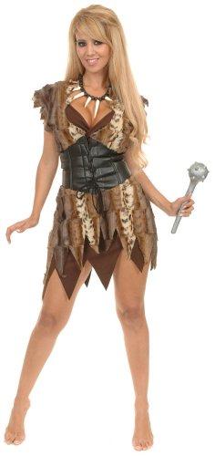 Charades Women's Cavewoman Costume Set, Brown, Small (Caveman And Cavewoman Costumes)