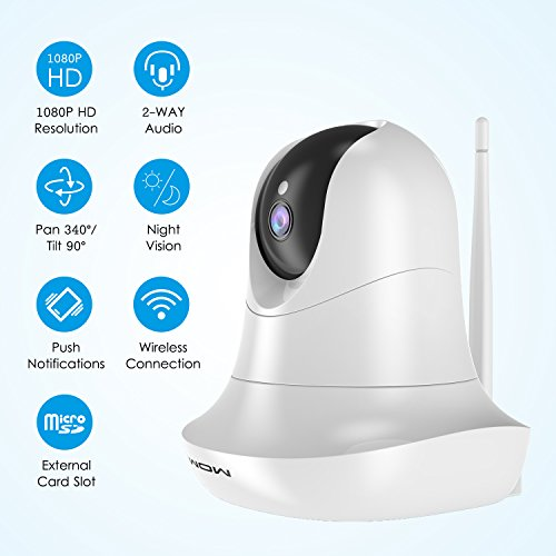 SURWOW Wireless IP Camera -1080P Wifi Surveillance Cameras Wireless HD with 2 Megapixel,Night Vision, Zoom/Pan/Tilt Control, Two-Way Audio for Baby,Pet Monitor and Home Security (WHITE) by SURWOW (Image #1)