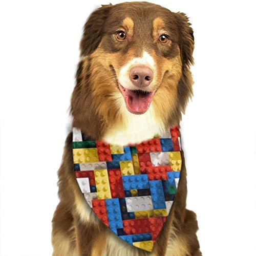 ZZJIAK Dog Bandana Scarf Red Blue Yellow Cube Pattern Triangle Bibs Printing Kerchief Set Accessories Dogs Cats Pets]()