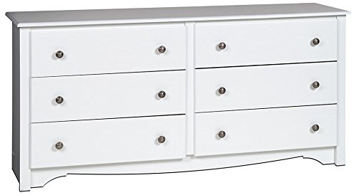 White Monterey 6 Drawer Dresser (Chic Mirror White Shabby Long)