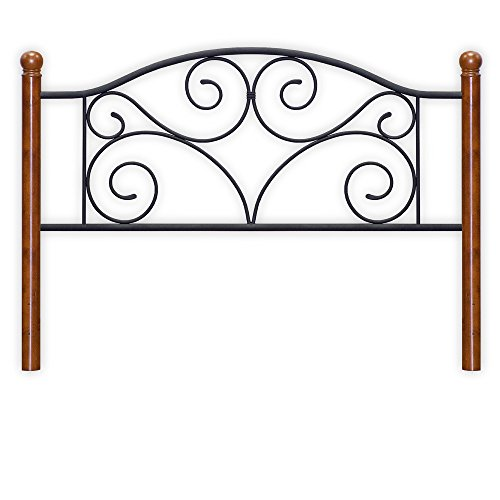 Doral Headboard with Dark Walnut Wood Posts and Metal Grill, Matte Black Finish, Queen