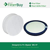 FilterBuy Dyson DC17 (DC-17) Compatible Filter Kit, Part #s 911236-01 & 911235-01. Designed by FilterBuy to fit Dyson DC17 Upright Vacuum Cleaners.