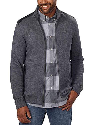 Calvin Klein Jeans Men's Full-Zip Fleece Mock Neck Sweatshirt Jacket (Dark Cliff Heather, M) ()