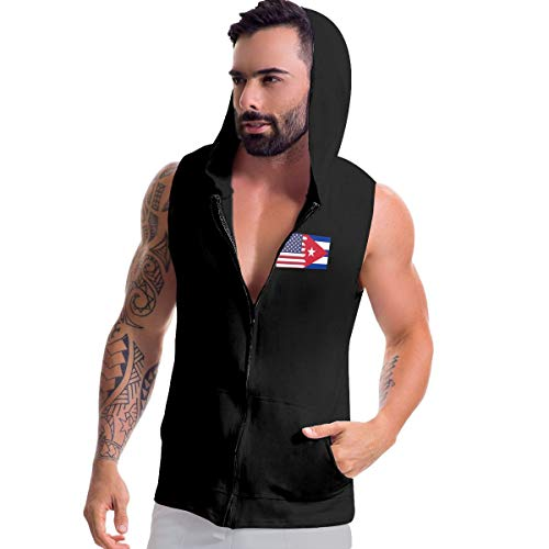 BMWEITIHBQ Men's Sleeveless Sweatshirt Hoodies, American Cuba Flag Zip Up Tank Tops Black