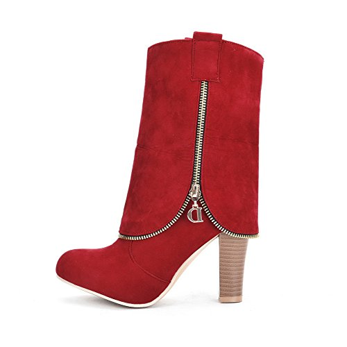 AllhqFashion Womens Pull-On High-Heels Flock Solid Low-Top Boots Red HYN9yEdTM