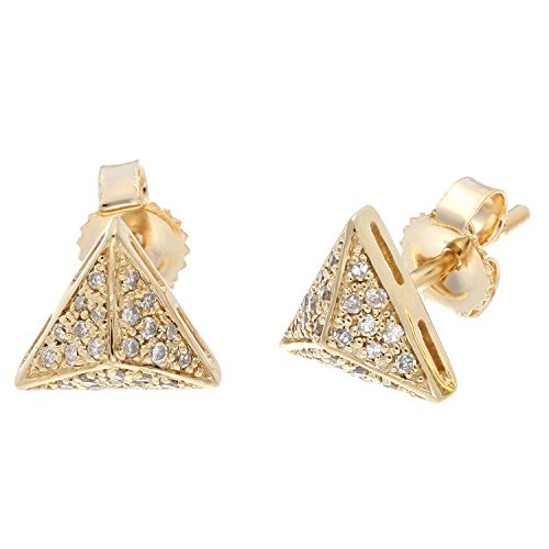 (10K Yellow Gold Pyramid Stud Earrings with 0.18 Cttw Diamonds)