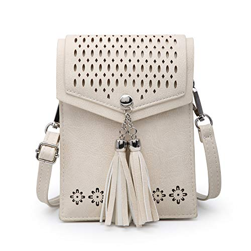 - seOSTO Women Small Crossbody Bag, Tassel Cell Phone Purse Wallet With Credit Card Slots