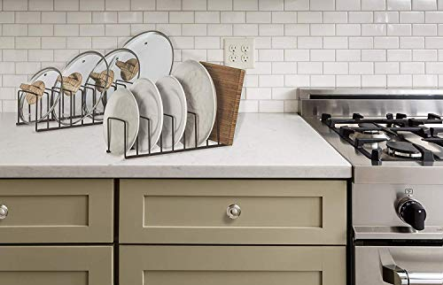 Kitchen STORAGE MANIAC 2-Pack Kitchen Bakeware Organizer, Multifunctional Pot Lid Holder with Divider for Dinnerware, Cookware… pot lid holders