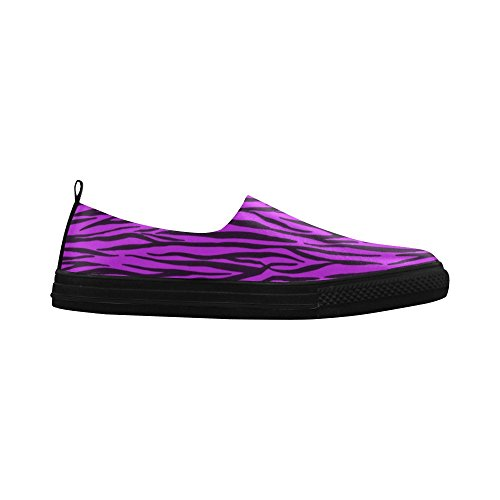 D-Story Custom Purple Zebra Stripes Apus Slip on Microfiber Womens Shoes(Model 021) zCfMyVDV