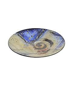 Home Line Bandeja Decorativa Redonda de 25x3, para Centro de Mesa, de Cristal en Color Azul, diseño Moderno.-Hogar y Mas