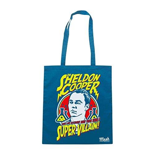 Borsa Dr Sheldon Cooper Super Villian The Big Bang Theory - Blu Royal - Film by Mush Dress Your Style En Venta Toma De La Fábrica Precio Barato Venta Mayor Proveedor Tienda De Venta Estilo De La Moda Barata En Línea 2xlGTM