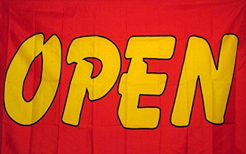 Open Red And Yellow Flag 3' X 5' Deluxe Indoor Outdoor Business - Shore Is Open Store The