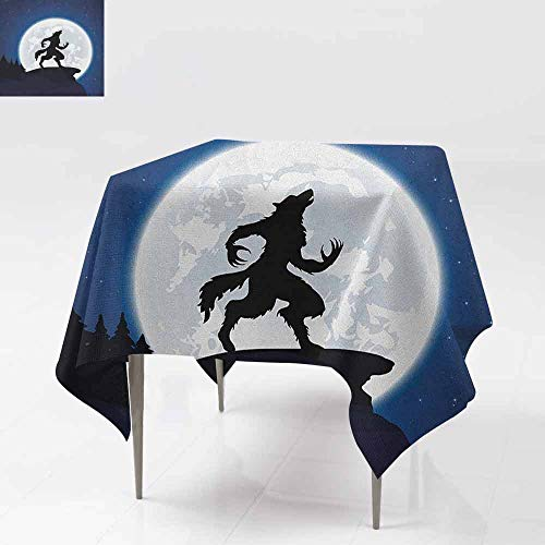 AndyTours Custom Tablecloth,Wolf,Full Moon Night Sky Growling Werewolf Mythical Creature in Woods Halloween,for Square and Round Tables,60x60 Inch Dark Blue Black -