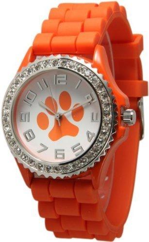- Orange Paw Face Silicone Watch w/ CZ Crystal Rhinestones Face Bling