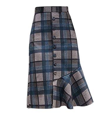Wincolor Women's Winter Wool Blend Button-Down Plaid Mermaid Fish Tail Midi Tartan Skirt
