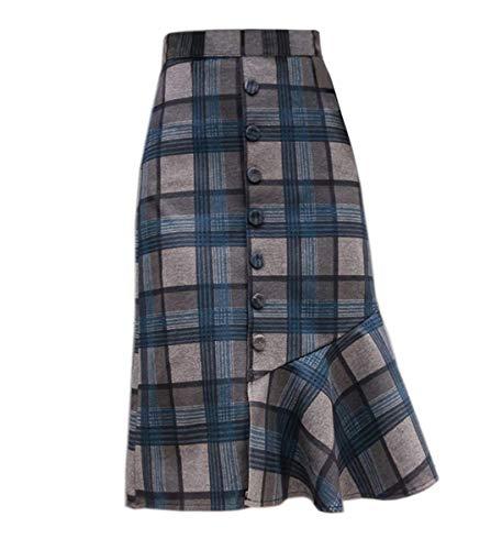 Wool Leggings Plaid (Wincolor Women's Winter Wool Blend Button-Down Plaid Mermaid Fish Tail Midi Tartan Skirt)