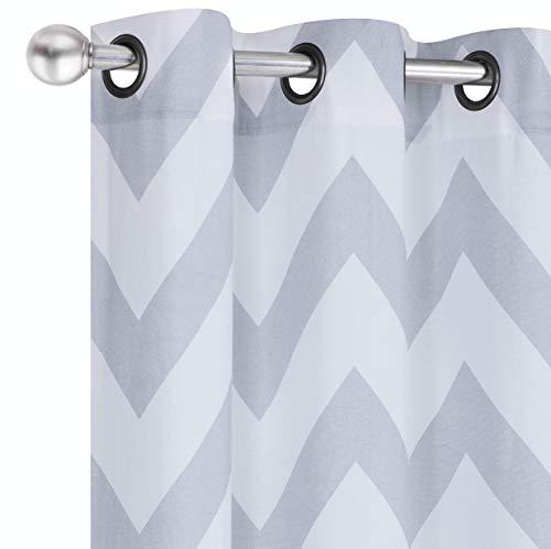 Regal Home Collections 2 Pack Premium Metallic Chevron Grommet Curtain Panels - Assorted Colors (Silver Metallic Chevron)