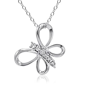 Amanda Rose Collection Sterling Silver Diamond Butterfly Pendant Necklace on an 18 inch Chain
