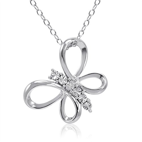 Amanda Rose Collection Sterling Silver Diamond Butterfly Pendant-Necklace on an 18 inch Chain
