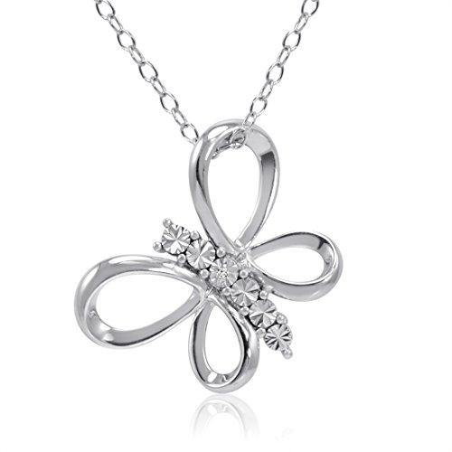 Sterling Silver Diamond Butterfly Pendant-Necklace on an 18 inch (Diamond Set Butterfly Pendant)