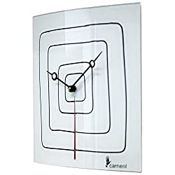 River City Clocks White Glass Art Clock with Black Squares