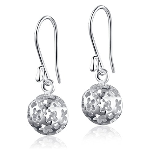 - SA SILVERAGE Sterling Silver Dangle Earrings Hollow Filigree Ball Earrings Round Drop Earrings Women's Fashion Jewelry