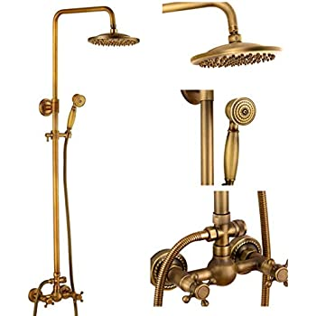 Bath Shower Faucet Set Complete Antique Brass Finish Wall