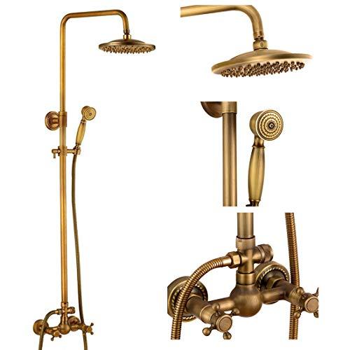 Antique Brass Bathroom Shower Faucet Set Brushed Gold Shower Fixture 8 Inch Rainfall Shower Head Handheld Shower Cross Handle (Kit Installation Wall Shower)