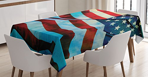 Ambesonne American Flag Tablecloth, American Flag in The Wind on Flagpole Memorial Patriotism History Image Print, Dining Room Kitchen Rectangular Table Cover, 60